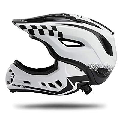 ROCK BROS Bike Helmets for Kid Full Face Mountain Bike Helmet Lightweight Dirt Bike Helmet Toddler Cycling Bicycle Helmet for Youth CPSC Certificate Detachable Skateboard BMX Helmet Age 3-15 Year Old