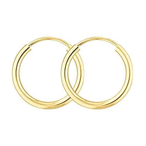 EDELWEISS Pendientes de Aro Para Mujer Oro amarillo 375 — Aros Pendientes Oro 9K, diámetro 15 mm, ancho 2 mm
