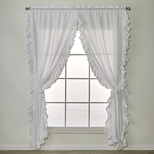 SKL Home by Saturday Knight Ltd. Sarah Tier Curtain Pair with Tiebacks, 82 inches x 54 inches, White
