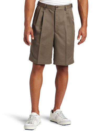 Haggar Men's Cool 18 Gabardine Hidden Expandable Waist Pleat Front Short,Bark,42