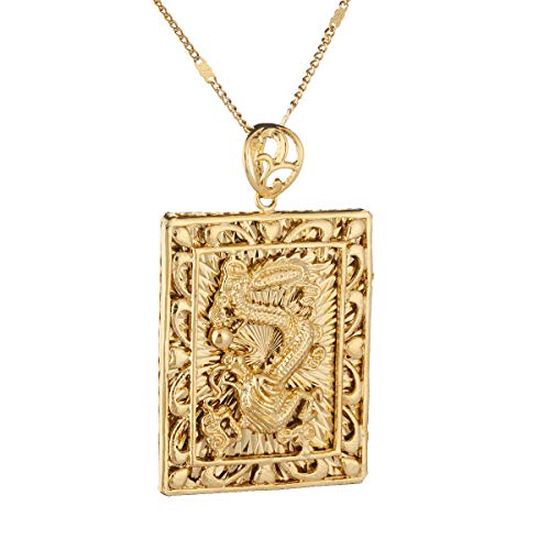 Fashion Real 24K Gold Plating Necklace Pendant Jewelry Dragon Chain Hiphop Rock Jewelry