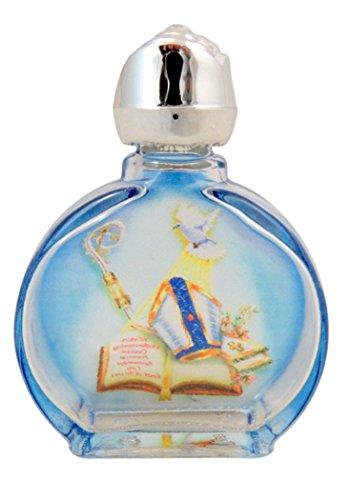 gebeizt Glas der Heiligen Spirity Trinity Taube Weihwasser Flasche mit Rosebud Deckel, 0,5oz