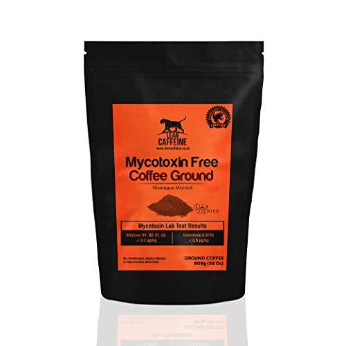 Lean Caffeine Nicaragua Ground Coffee | Super Clean Mycotoxin Free Bulletproof Coffee | Dark Roasted, Low Acid Keto Coffee - 908g