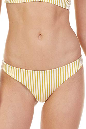 Tori Praver Women's Cabana Striped Brazilian Bikini Bottom Saffron L