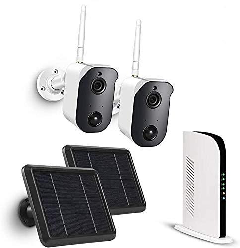 TMEZON Sistema de cámara de Seguridad inalámbrica con Panel solar, Batería 1080P cámara WiFi para exteriores, detección de movimiento PIR, audio de 2 vías, visión nocturna, IP65 a prueba de agua