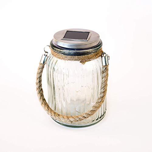 Wasserdichte Solarlampe Mason Jar Solarglas Gartenleuchte Hängeleuchte im Einmachglas 16cm x 11cm hochwertige Solarleuchte