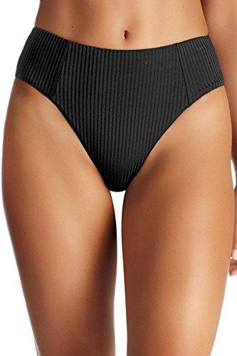 Vitamin A Women's Black EcoRib Sienna High Waist Bikini Bottom Black Ecorib 8