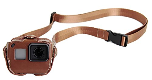 PU Leather Case for GoPro Hero 5/6/ 7 Action Camera Frame Mount Housing with Adjustable Neck/Waist Strap Accessories Brown