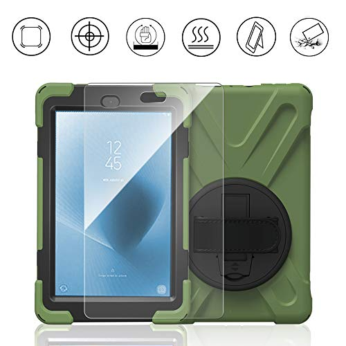 Gzerma for Fire HD 8 Childproof Case 2017 with Fire HD 8 Screen Protector 7th Generation, 3in1 Heavy Duty Protective Cover with Hand Strap, Stand Holder for New Amazon Kindle Fire 8 Tablet, Green 2
