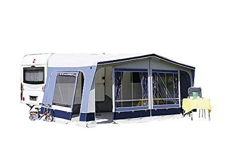 dwt Vorzelt Fiesta 240 blau Reisezelt Camping Wohnwagenvorzelt Ganzzelt Caravan leicht 6 mögliche Eingänge, Größenauswahl:Gr. 16 Umlaufmaß 1001-1030 cm