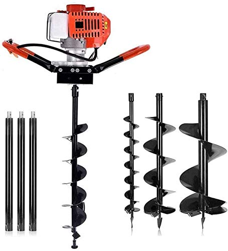 """YUYUE 72cc 2 Stroke Post Hole Digger, 3KW Petrol Gas Powered Earth Auger with 3 Bits(4"""", 8"""", 12"""") and 3 Extension Rods"""