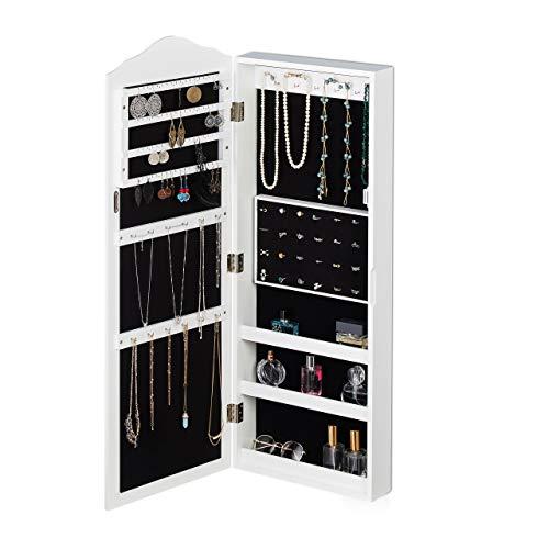 Relaxdays Schmuckschrank, Spiegel, Magnetverschluss, Wandmontage, hängend, Schmuckspiegel, HBT 96,5 x 35 x 9,5 cm, weiß, 1 Stück