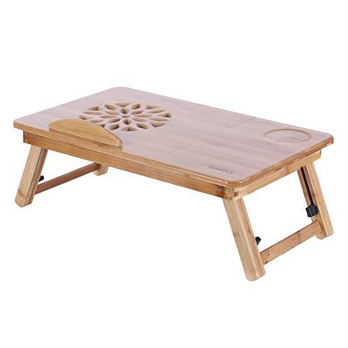Aoyo Bandeja De Soporte De Mesa De Computadora Portátil De La Cama De Bambú Plegable (sin Cajón)