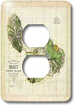 3dRose lsp_100516_6 Picture of 1885 Map of Maui Hawaii Light Switch Cover