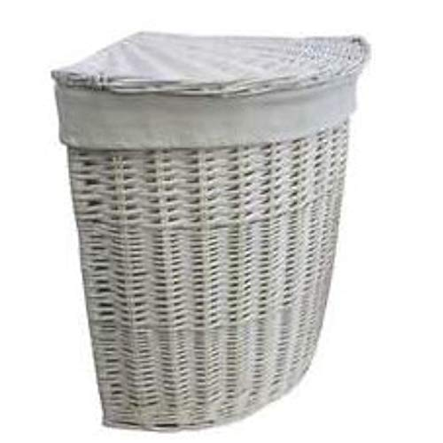 White Painted Corner Wicker Laundry Basket Linen Lined Washing Bin
