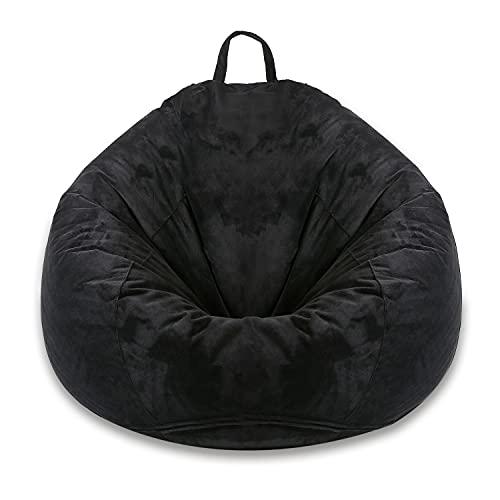 MFTEK Bean Bag Chair Cover(No Filling), Large Washable Soft Velvet Bean Bag, Stuffed Animal Storage or Memory Foam for Kid Adults, 35''×35''×43'' (Black)
