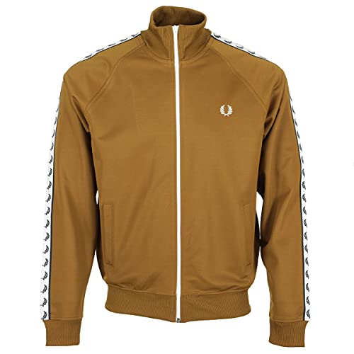 Fred Perry Taped Track - Chaqueta deportiva, Hombre, marrón y blanco., small
