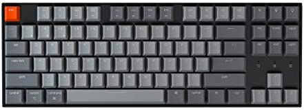 Keychron K8 Tenkeyless Wireless Mechanical Keyboard for Mac, Hot-swappable White Backlight, Bluetooth, Multitasking, Type-C Wired Gaming Keyboard for Windows with Optical Brown Switch