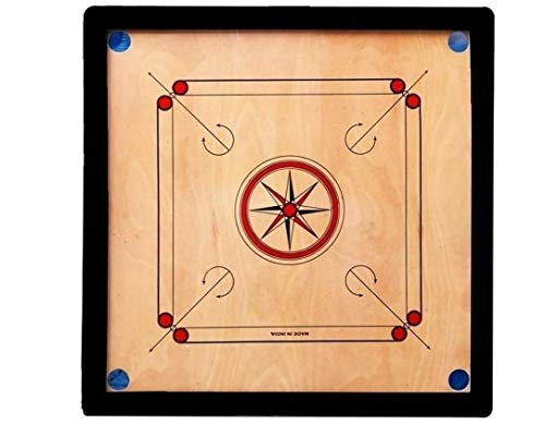 impulse enterprises fully glossy finish carrom with round pocket 1.5 inch border with coins, striker and carrom powder (full size...
