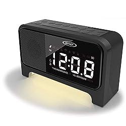 Jensen JCR-350 Digital Dual Alarm Soothing-Sounds Clock Radio with Night Light, Black