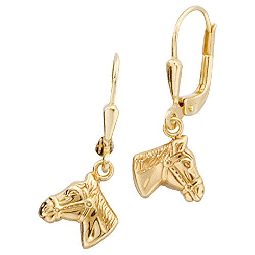 Boutons 333/-G Pferdekopf Ohrringe Pferd gold Pferdeohrringe Pferdeschmuck gold