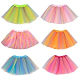 kilofly Girls Ballet Tutu Kids Birthday Princess Party Favor Dress Skirt Set of 6