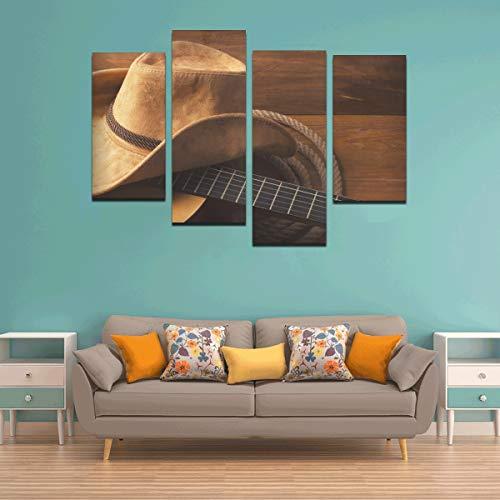 4 Piezas Decoración de Pared de Arte único Sombrero de Vaquero Salvaje Oeste Americano Decoración de Pared de Arte único Fresco Sin Marco Sala de Estar Oficina Hotel Decoración del hogar Reg