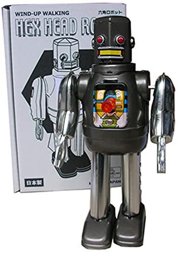 Robot Decorativo de Hojalata Plateado Robot Hex Head Gris . Robots de Cuerda. Colección. Regalos Originales. Detalles para Cumpleaños, Navidad y Reyes. PR