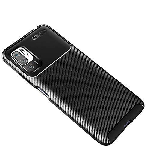 JIAFEI Funda Fibra para Xiaomi Redmi Note 10 5G / Poco M3 Pro, Suave Funda Movil Carcasa Anti-Choque Anti-arañazos, Diseño de Textura de Fibra de Carbono, Diseño de disipación de Calor, Negro
