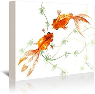 "Americanflat Feng Shui Goldfish Koi 2 Gallery Wrapped Canvas Print by Suren Nersisyan 16"" H x 20"" W x 1.5"" D"