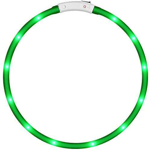KEKU LED Collar de Perro de Mascota, llevó USB Recargable Collar de Seguridad para Mascotas Impermeable hasta la Longitud de 50 cm (19.5in) Collar de Destello Ajustable (Verde)