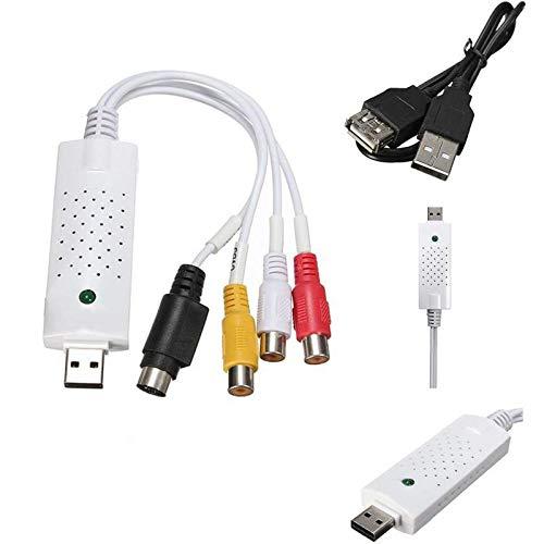 Tech Stor3 USB 2.0 Audio/Video Grabber Nueva Versión 2020, Compatible con Windows 10 - Adaptador de vídeo VHS para grabar sus viejas cintas de vídeo - Tarjeta de captura de vídeo USB