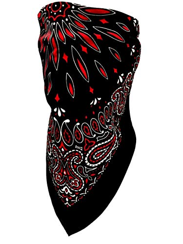 Motorcycle Riders VELCRO®Brand Adjustable Black White Red Paisley Cotton Bandanna Face And Neck Cover Reversible Dust, Bug, Sun and Exhaust Protection, ATV Rider for Men and Women