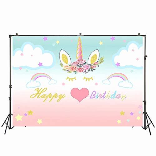 NIVIUS PHOTO Telón de fondo para fotografía de 7 x 5 pies feliz cumpleaños unicornio flor foto telones sin costuras niños fiesta decoración fotografía fondo W-1998