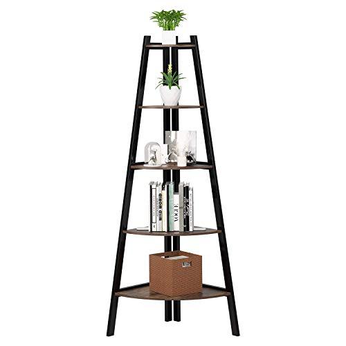 Homfa 5 Tier Corner Shelf Display Shelving Unit Industrial Storage Rack Ladder Bookcase for Living Room Bedroom