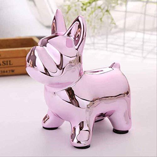 WUJIJILI Keramik Mops Sparschwein Safe Spardose Handwerk Münze Aufbewahrungsbox Puppy Bank Dekoration Rosa