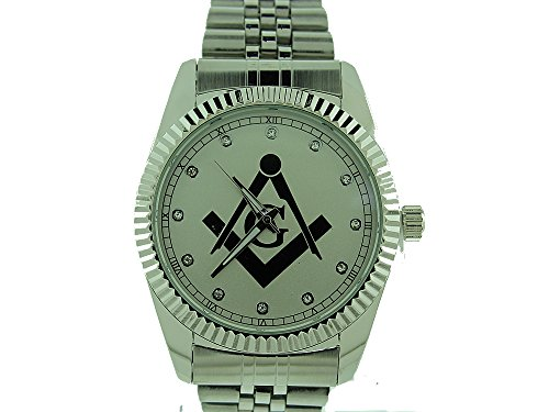 Masonic/Free Mason Watch, Premium Quality, with Stainless Steel Band,Comes with Collectible Masonic Watch Box WM 977 RHD