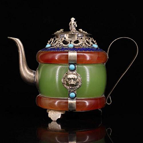 LISAQ Retro Crafts Kupfer, um eingelegten Edelstein Home Decoration Teekanne Kupfer Topf zu Machen