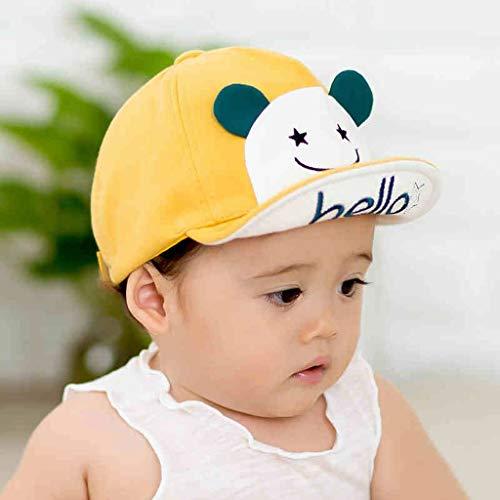 PY Gorra de béisbol del bebé de la Historieta Hola Sombrero de Sol recién Nacidos niños y niñas de algodón Bordado de niños (Color : Yellow, Size : S)