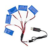 GzxLaY High-Performance Battery Backup 5pcs Compatible with Syma x5 rc lipo Battery 3.7v 850mah 902540 and USB x5c x5sw x5sc cx30 cx-30 w Drone Helicopter Airplane Parts