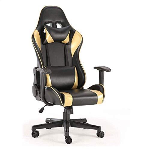 FTFTO Wohnaccessoires Bürostuhl Ergonomischer Spielstuhl Sitz Home Drehbarer Recliner mit hoher Rückenlehne PU-Ledermaterial (golden)