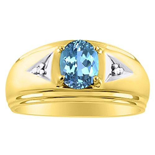 Plata de Ley Anillo De Diamante Y Topacio Azul o Amarillo Chapado en oro