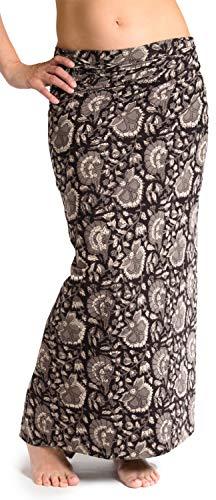 ufash Damen Sarong Lungi Pareo Rock aus Indien, traditionell handbedruckt, Unisex für Männer und Frauen. Boho Gipsy & Hippie Röcke, Schwarz 2