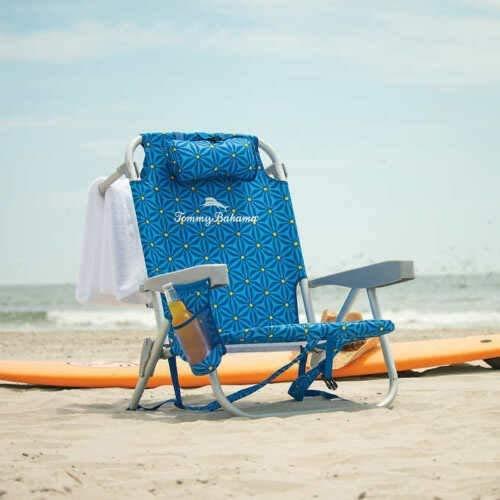 TECNOVOZ Tommy Bahamas 2000998 - Silla de Playa Plegable con Asas, diseño de Mosaico Azul