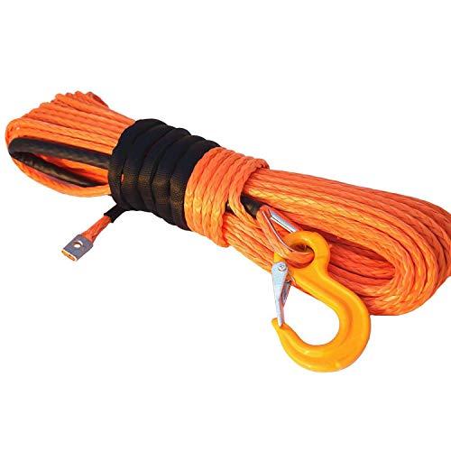 Naliovker Corde de Treuil SynthéTique, Cable de Ligne de Corde de Treuil SynthéTique 1/4 X 50 Pi Orange pour Treuil de Bateau de Camion ATV UTV SUV