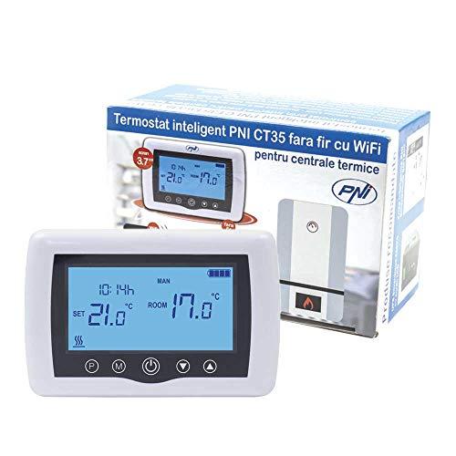 PNI Termostato Inteligente CT35 inalámbrico con WiFi controlado por Internet para Las centrales térmicas de App