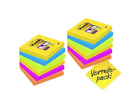 Post-it, Farbige Haftnotizen, 12er Vorteilspack Sticky Notes, Bunte Klebezettel und Haftnotizzettel, Notizzettel für Büro und Studenten, 12 Blöcke à 90 Post-Its, 76 x 76 mm