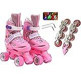 mfw@wewe Patines de Rodillos Doble-Fila en línea Patines en línea 2 en 1 Niños Ajustable Quad Roller Rollerblades Principiantes 7-12 años Niños Niños Niños Niñas Cumpleaños Regalo