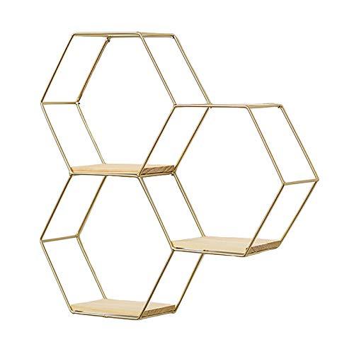 RAILONCH Étagère murale en métal - 1 pièce - Noir/doré - Hexagon - Étagère flottante - Étagère murale - Pour chambre à coucher, salon (3 nid d'abeille doré)