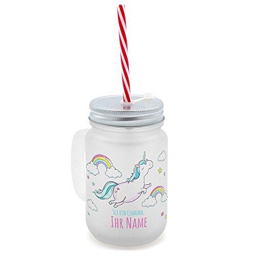 printplanet® - Trinkglas mit Henkel und Strohhalm - personalisiert mit Namen - Motiv Dickes...